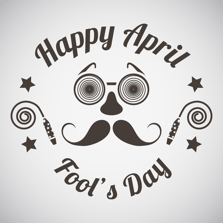 April fools day emblem with goggle and mustache mask. Vector illustration.