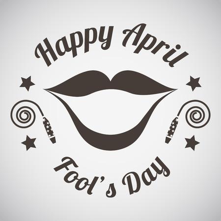 April fool's day emblem with wide smile. Vector illustration.