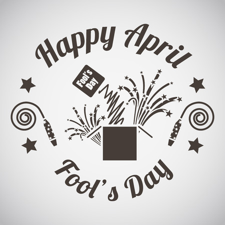 idiot box: April fools day emblem with surprise box. Vector illustration.