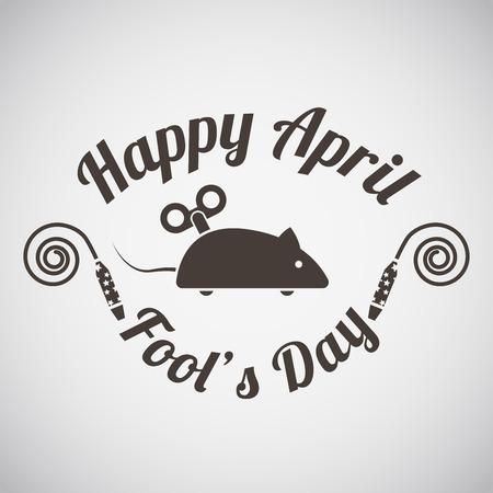 April fool's day emblem with clockwork mouse. Vector illustration.