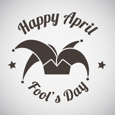 April fool's day emblem with harlequin hat. Vector illustration.