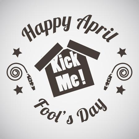 sticker vector: April fools day emblem with kick me sticker. Vector illustration.