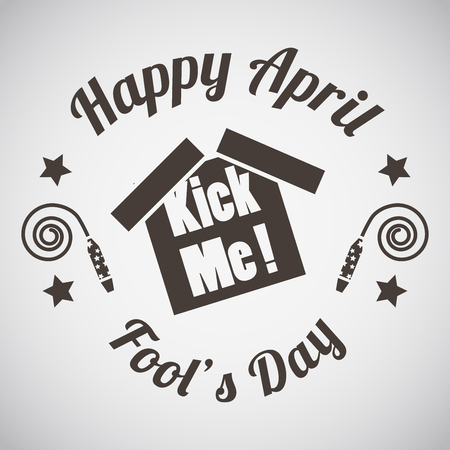 April fools day emblem with kick me sticker. Vector illustration.