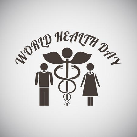 simbolo medicina: divisa día de salud con el símbolo de la medicina y del hombre con la mujer en el lado de ella en el fondo gris. Ilustración del vector. Vectores