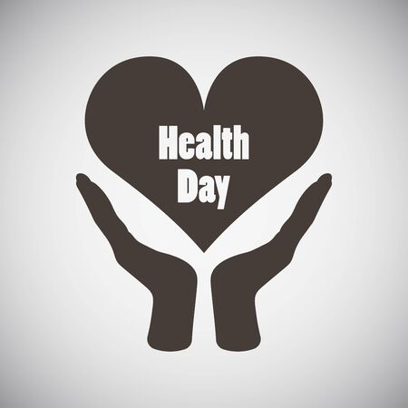 heart month: Health day emblem with two hand holding heart on grey background. Vector illustration.