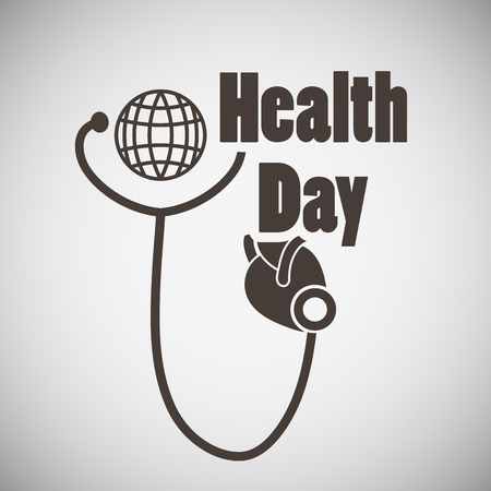 lifestyle disease: Health day emblem with stethoscope examing heart on grey background. Vector illustration.