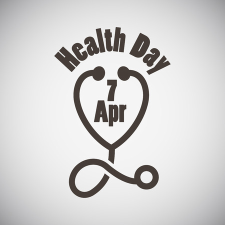Health day emblem with stethoscope on grey background. Vector illustration.