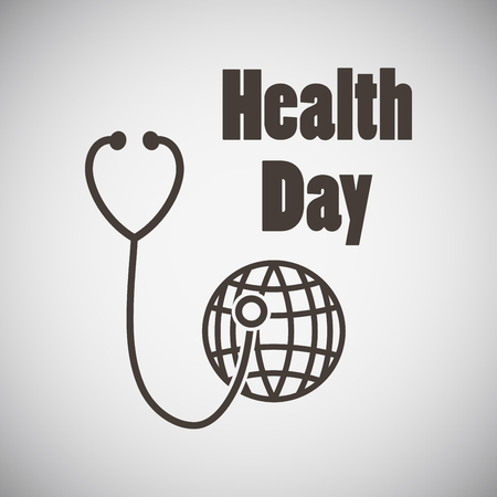 medical exam: Health day emblem with stethoscope examing planet on grey background. Vector illustration.