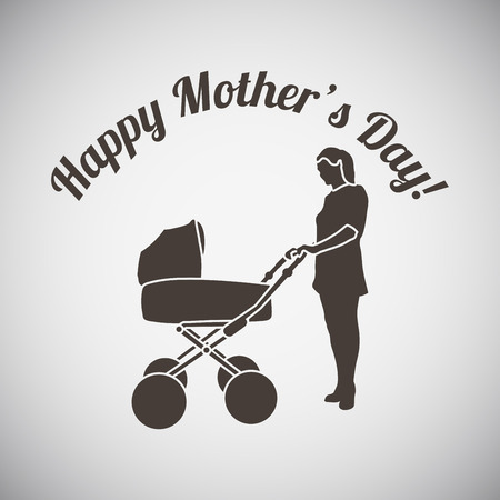 buggy: Mothers day emblem with mother and buggy. Vector illustration.
