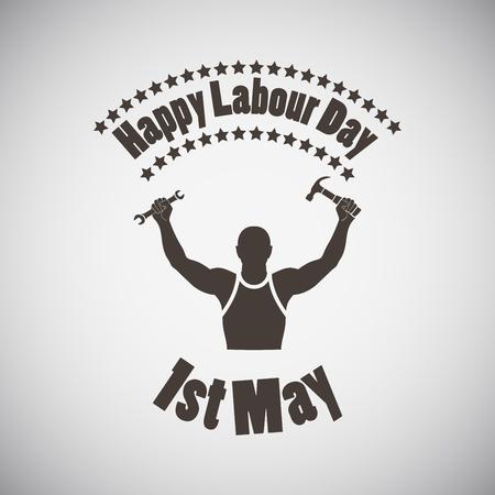 jornada de trabajo: Día del Trabajo emblema con la silueta del trabajador. Ilustración del vector.
