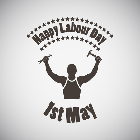 Labour day emblem with silhouette of worker. Vector illustration.