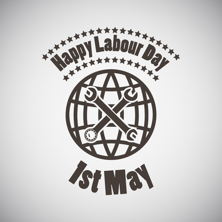 labor: Labour day emblem with wrenches and planet. Vector illustration. Illustration