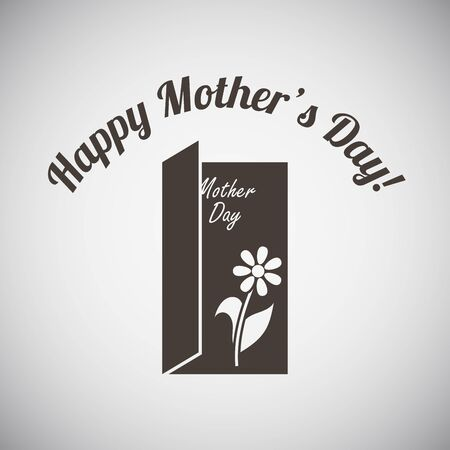 open type font: Mothers day emblem with open greeting card. Vector illustration. Illustration