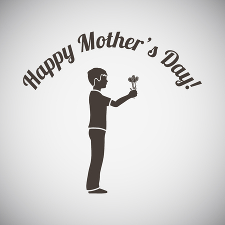 gifting: Mothers day emblem with boy gifting bouqet of tulips. Vector illustration.
