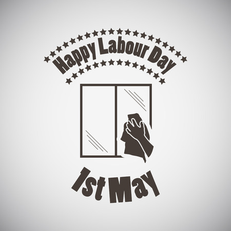 wiping: Labour day emblem with window and wiping hand. Vector illustration. Illustration