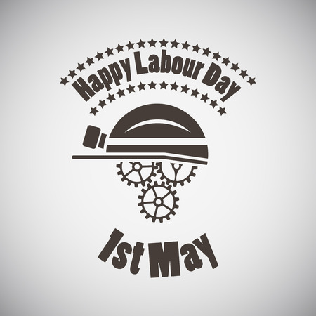 country side: Labour day emblem with helmet and gears. Vector illustration.