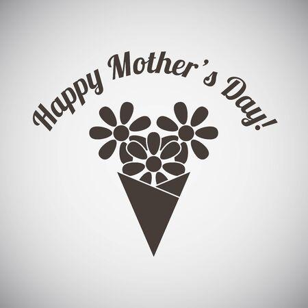 Emblema del día de madre con el ramo de las flores. Ilustración del vector.