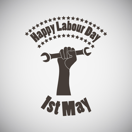 wrench: Labour day emblem with wrench in fist. Vector illustration.