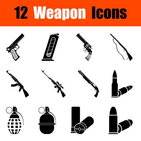 arsenal: Set of twelve weapon black icons. Vector illustration.