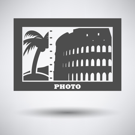 digital photo: Digital photo frame icon on gray background with round shadow. Vector illustration.