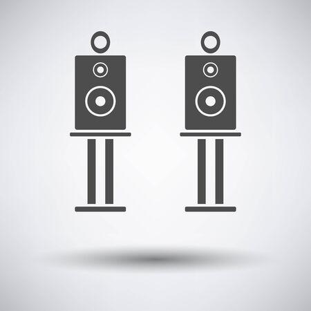 equipo de sonido: Audio icono de los altavoces del sistema en fondo gris con la sombra redonda. Ilustración del vector.