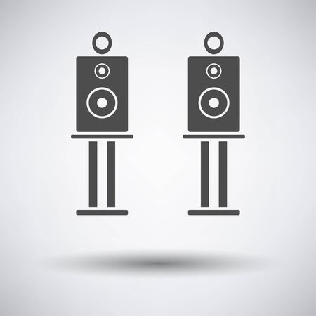 party system: Audio system speakers icon on gray background with round shadow. Vector illustration.