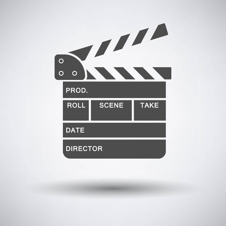 clapperboard: Clapperboard icon on gray background with round shadow. Vector illustration. Illustration