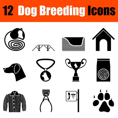 shop for animals: Set of twelve dog breeding black icons. Vector illustration.