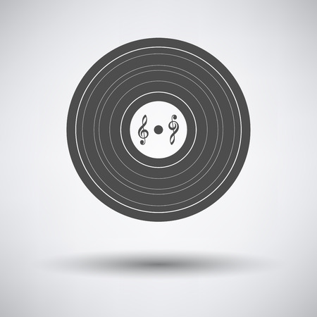 analogue: Analogue record icon on gray background with round shadow. Vector illustration. Illustration