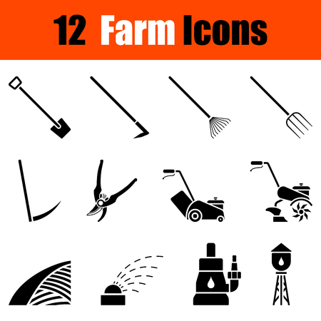 cultivator: Set of twelve gardening black icons. Vector illustration.
