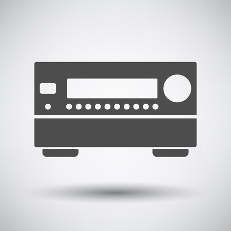 home theater: Home theater receiver icon on gray background with round shadow. Vector illustration. Illustration