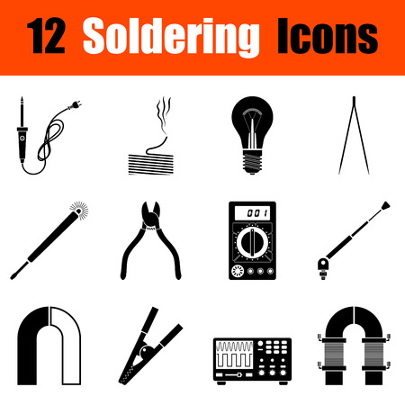 iron: Set of twelve soldering  black icons. Vector illustration.