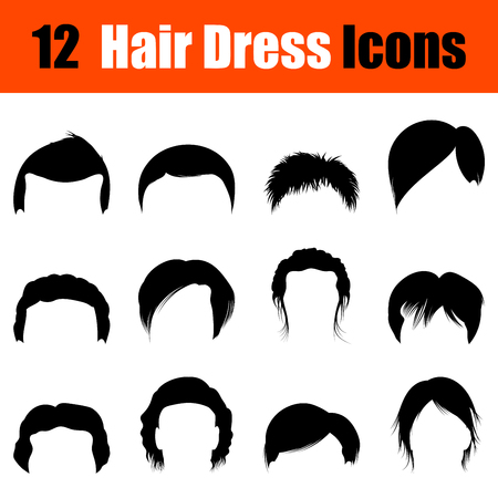 set of men hair styling: Set of twelve mans hairstyles  black icons. Vector illustration.