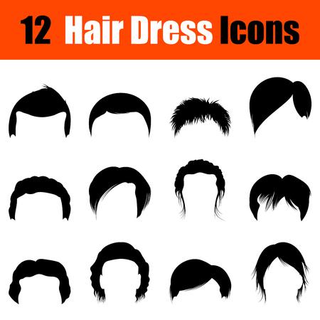 set of men hair styling: Set of twelve mans hairstyles  black icons. Vector illustration.