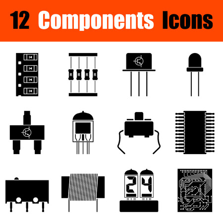 electronic components: Set of twelve electronic components black icons. Vector illustration. Illustration