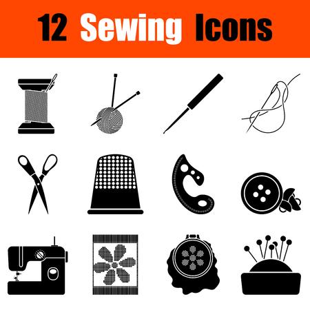 Set of twelve sewing black icons. Vector illustration. Vektoros illusztráció