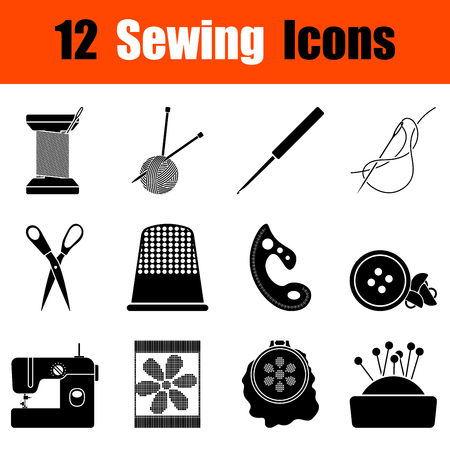 threads: Set of twelve sewing  black icons. Vector illustration.