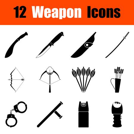 machete: Set of twelve weapon black icons. Vector illustration.