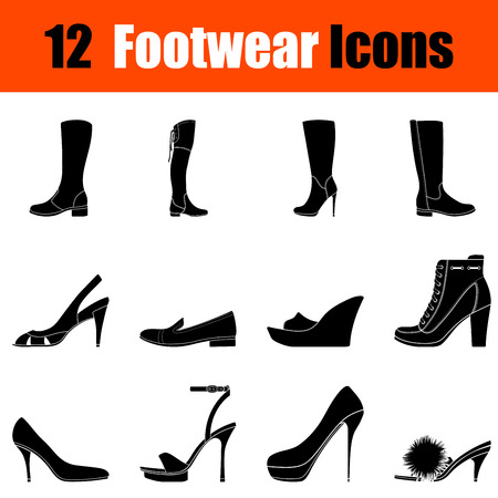 heeled: Set of twelve womans footwear black icons. Vector illustration. Illustration