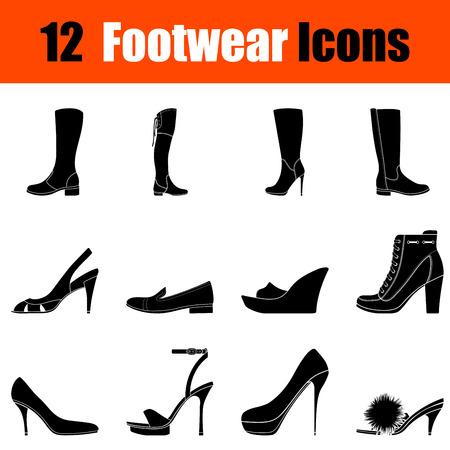 high heeled: Set of twelve womans footwear black icons. Vector illustration. Illustration