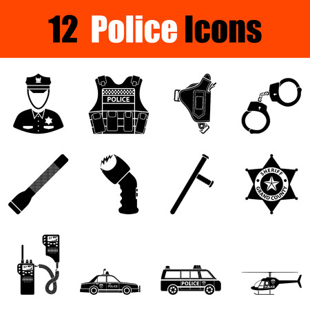 flak: Set of twelve police black icons. Vector illustration.