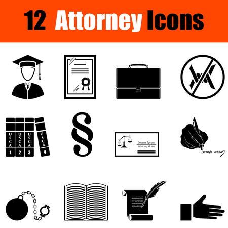 barrister: Set of twelve attorney black icons. Vector illustration.