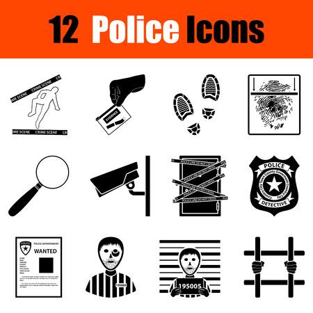 profiles: Set of twelve police black icons. Vector illustration.