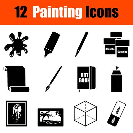 marker pen: Set of twelve painting black icons. Vector illustration.
