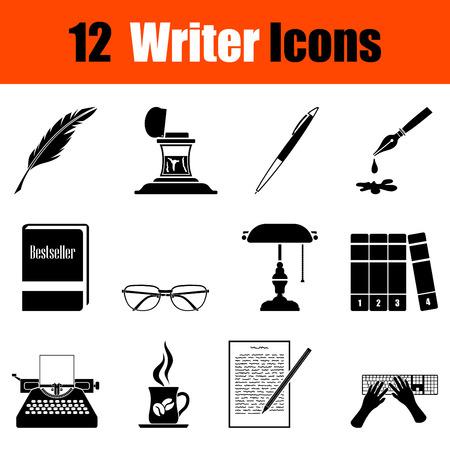 writer: Set of twelve writer black icons. Vector illustration. Illustration