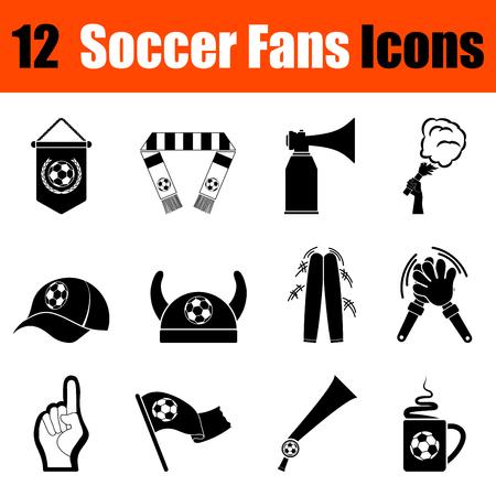 Conjunto de doce aficionados al fútbol iconos negros. Ilustración del vector.