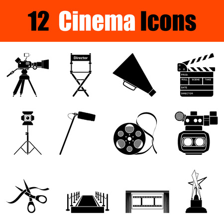 icon red: Set of twelve cinema black icons. Vector illustration. Illustration