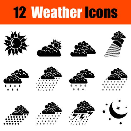 windy day: Set of twelve weather black icons. Vector illustration. Illustration