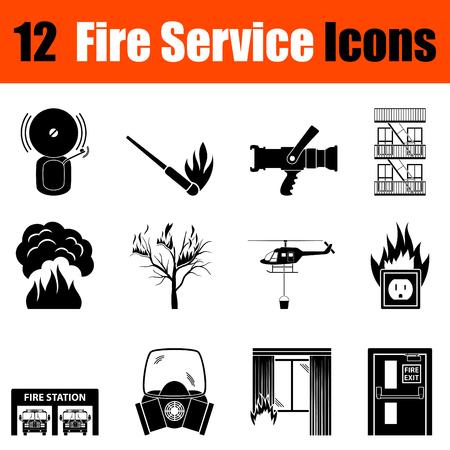 burning: Set of twelve fire service black icons. Vector illustration.