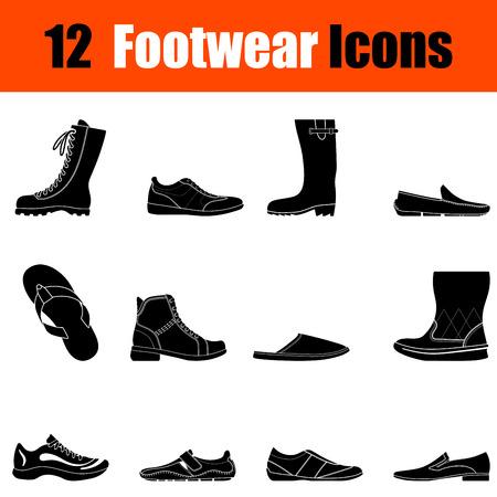 brogue: Set of twelve mans footwear black icons. Vector illustration.